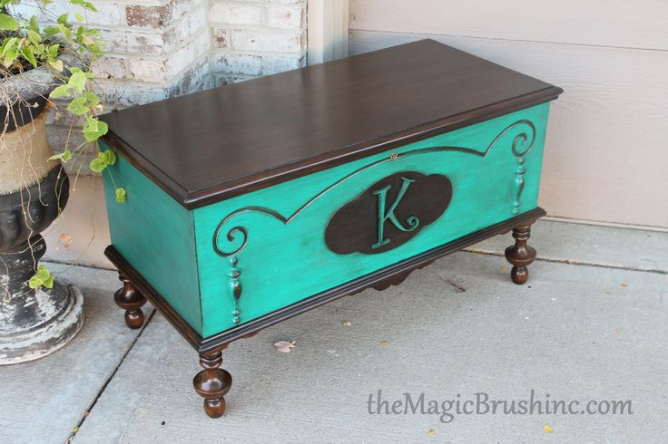 repainted chest furniture in blue and some staining and a stencil by themagicbrushinc.com