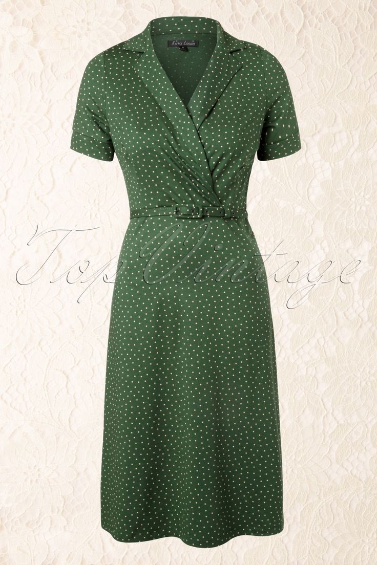 King Louie - 40s Polo Cross Little Dots Dress in Green