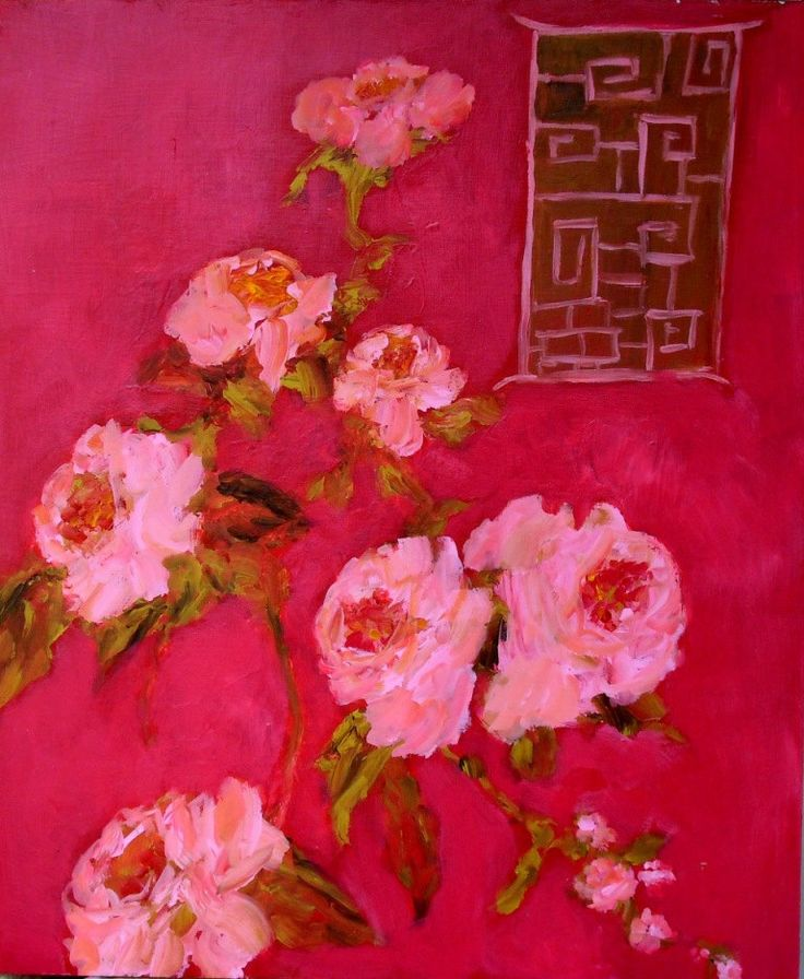 susan brown - red chinioserie with rose