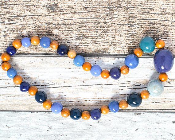 Fair Trade Blue Necklace - Big Bead Purple Necklace - Purple Bead African Necklace - Blue Bead Wood Necklace - Kazuri Bead Boho Necklace thecoastaldesert The Coastal Desert handmade jewellery jewelry