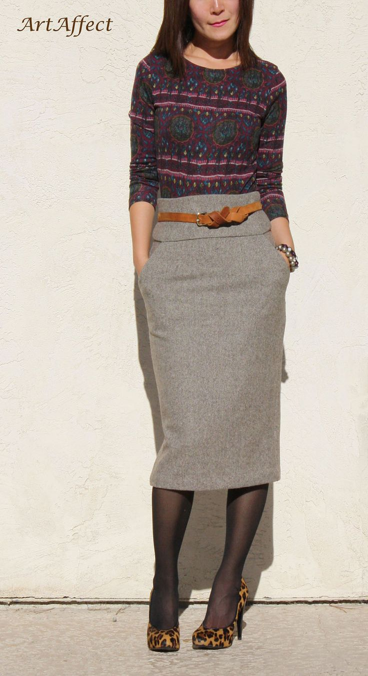 High Waist Pencil Skirt- Brown Tweed Wool. $110.00, via Etsy.  http://www.etsy.com/listing/113481611/high-waist-pencil-skirt-brown-tweed-wool