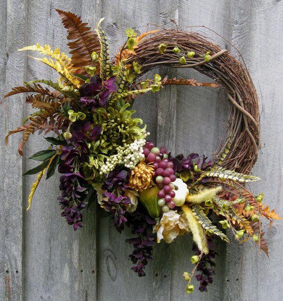 Fall Wreath, Autumn Designer Wreath, Tuscany Décor, Thanksgiving, Harvest, Fall New England, Elegant Holiday Wreath