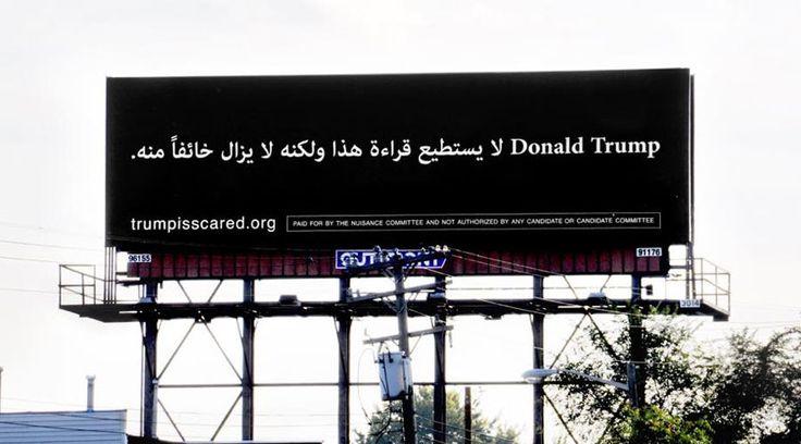 Michigan billboard mocks Donald Trump in Arabic. #Election2016 © Mike Rogowski