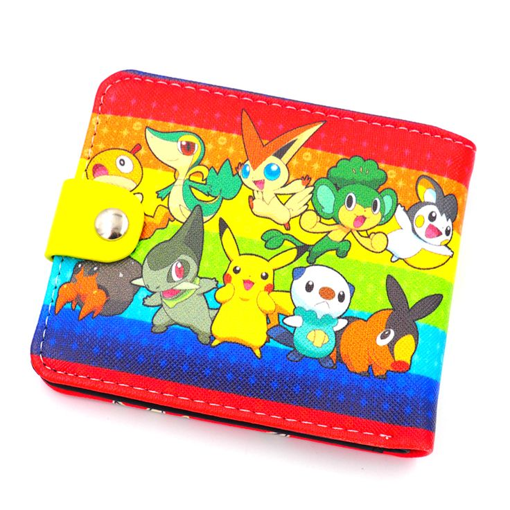 2017 New Japanese Anime Pokemon Wallet For Teenager Boy Girl Leather PU Cartoon Purse Short Bifold Wallet Men Coin Money Bag