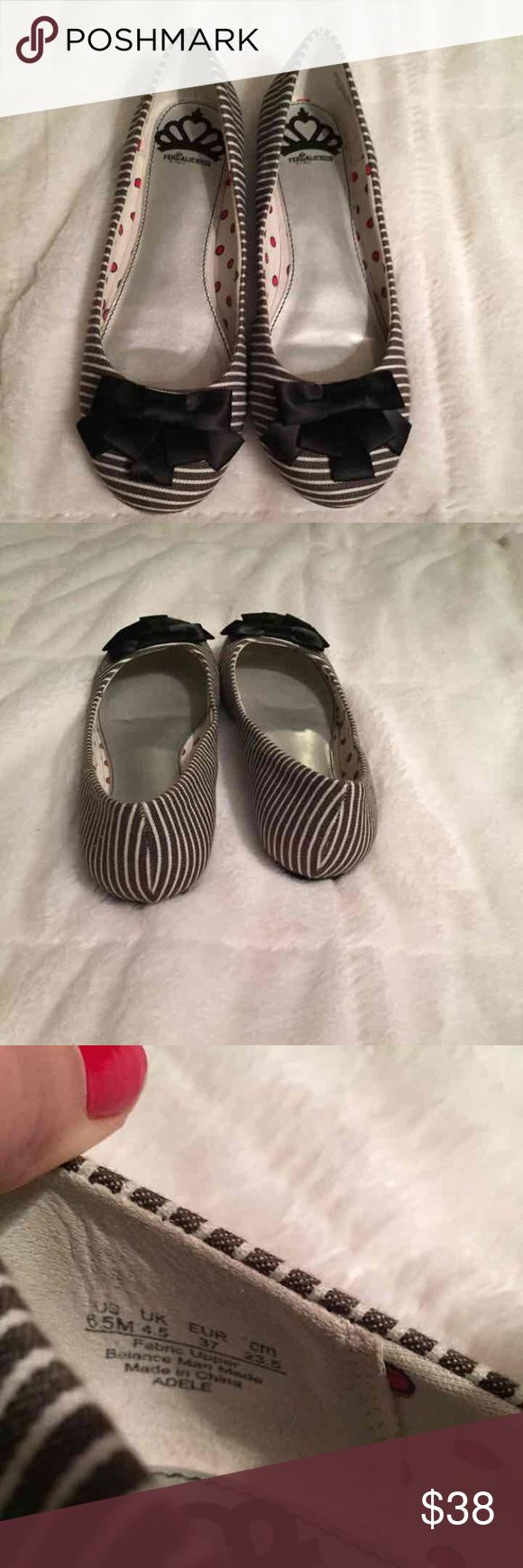 Fergalicious Adele Flats Sensible and stylish ballet flat. Navy blue and white striped with navy blue bow at the toe. Cushioned sole. Without box. Size 6.5 M . EU size 37.   Dress them up or down for your day and night looks.   Nautical / Navy theme Fergalicious Shoes Flats & Loafers