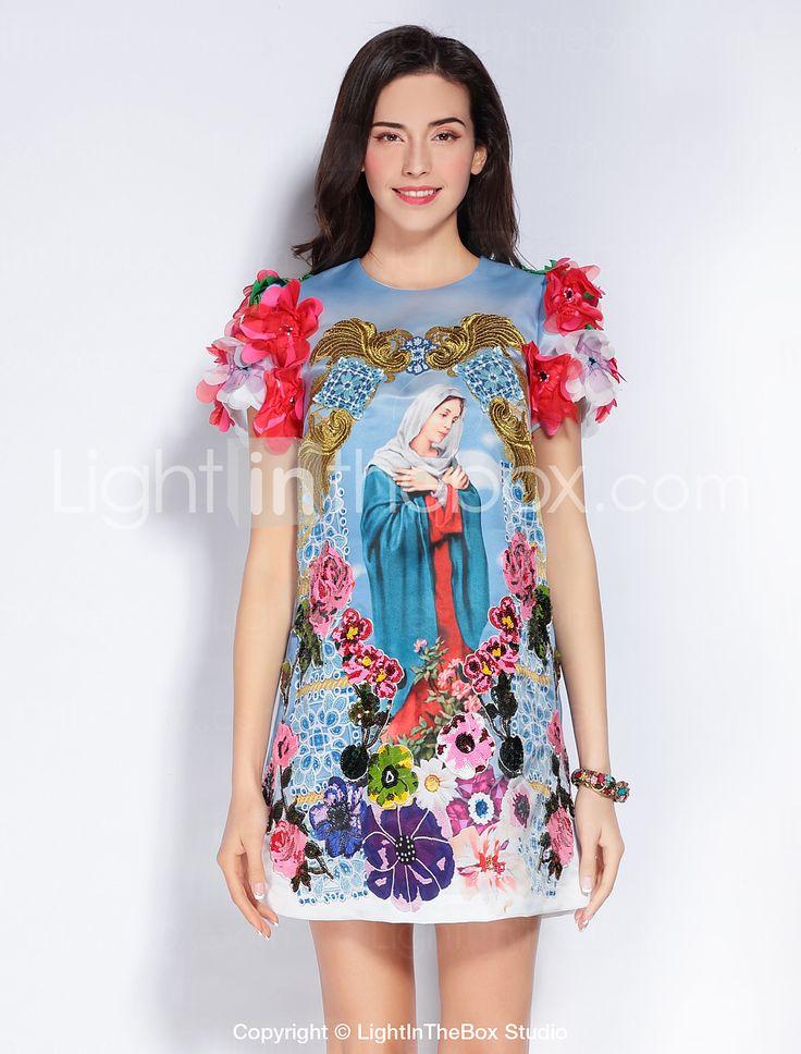 Gaine Robe Femme Sortie Mignon,Imprimé Col Arrondi Au dessus du genou Manches Courtes Bleu Polyester Printemps Eté Taille NormaleNon de 5626340 2017 à €85.25