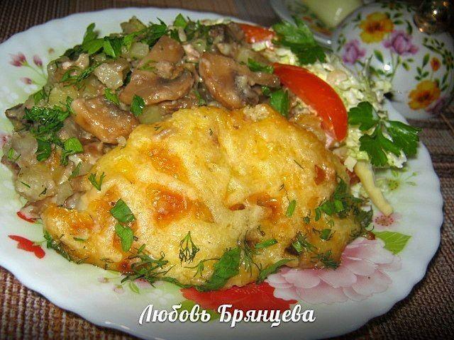 Запеченный картофель с курицей и грибами