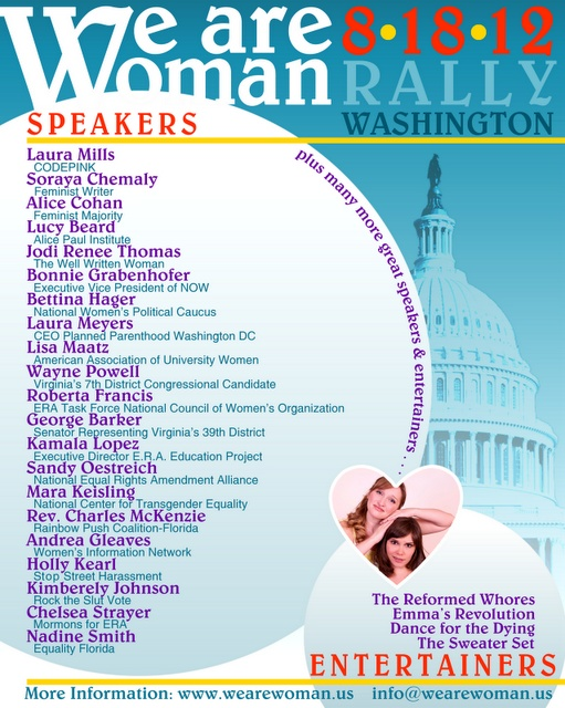 """NWPC Programs Director Bettina Hager speaking at """"WE ARE WOMAN"""" rally this Saturday!"""