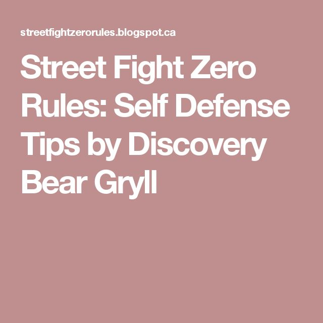 Street Fight Zero Rules: Self Defense Tips by Discovery Bear Gryll