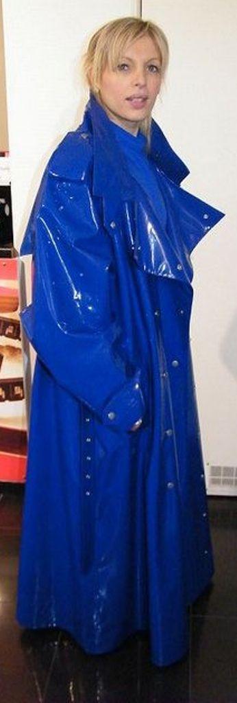 .Long blue pvc mackintosh