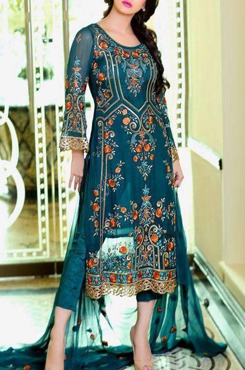 Buy Teal Embroidered Chiffon Dress by Embellish 2015.