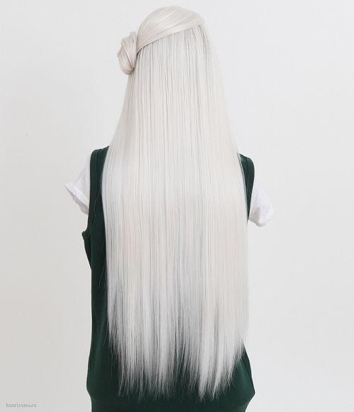 Long silver braid. White hair. Gray hair. Granny hair. Going gray ...