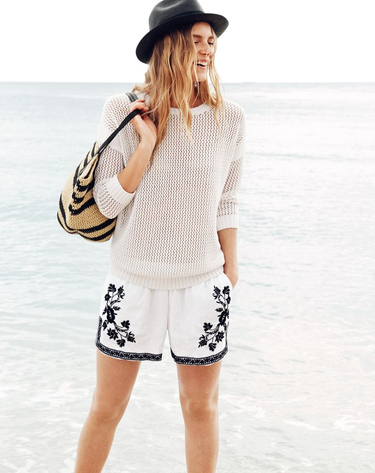 JUL '14 Style Guide: J.Crew women's drapey beach sweater and embroidered gauze shorts.