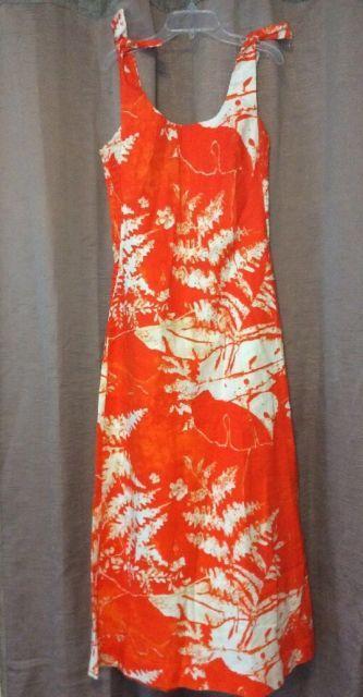 Kiyomi Liberty House Hawaiian Dress 10 Orange Leaves Maxi Vtg Tie Shoulder Strap | eBay