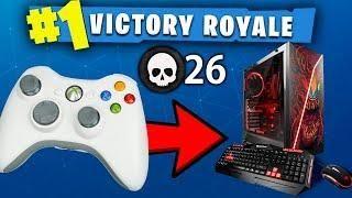 he uses xbox controller on pc fortnite random duos win - controller on pc fortnite