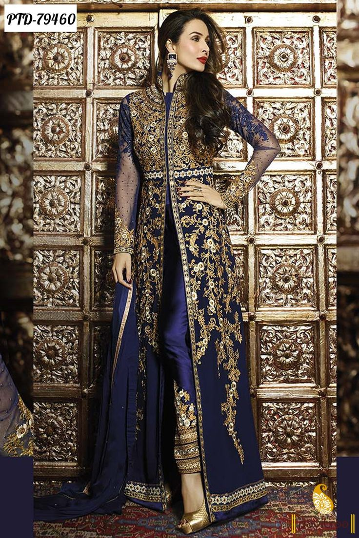 Famous Indian Bollywood celebrity and dancer Malaika Arora special designer anarkali style Bollywood Salwar Kameez online shopping collection for upcoming festival eid, Order Online@...
