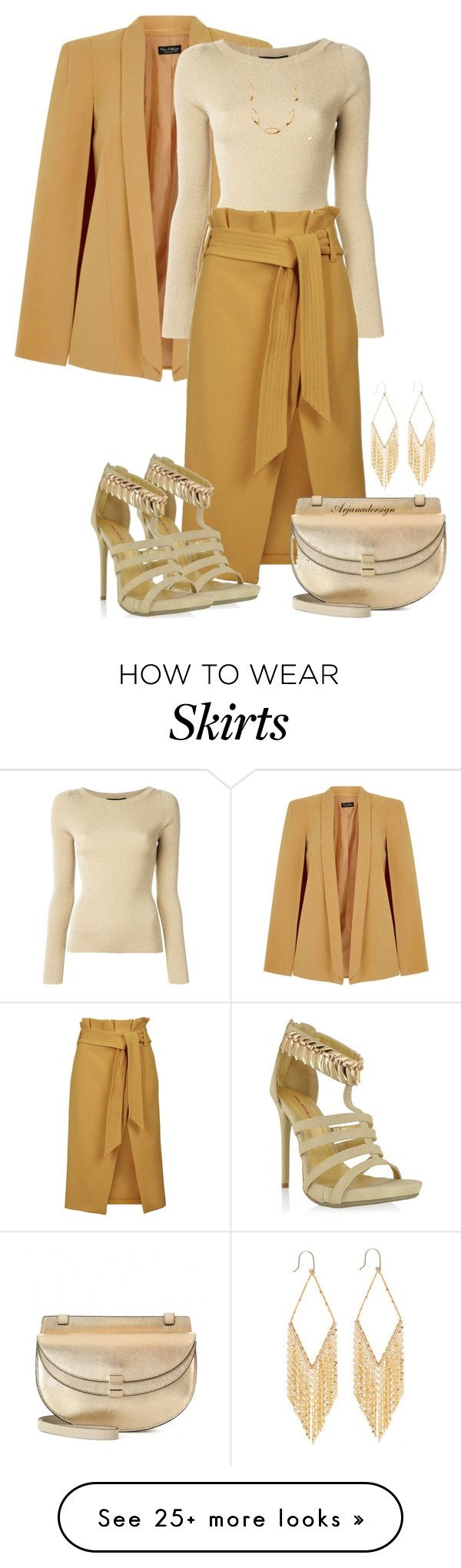 """PAPER BAG MIDI SKIRT"" by arjanadesign on Polyvore featuring Miss Selfridge, Dolce&Gabbana, Topshop, Shoe Republic LA, Chloé and Lana"