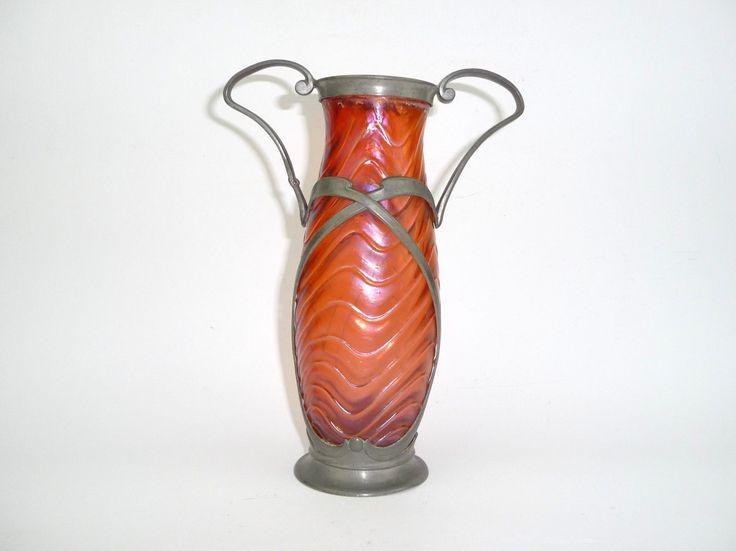 Seltene Jugendstil Vase mit Zinnmontur W. Kralik Böhmen um 1900 Irisierend | Antiquitäten & Kunst, Mobiliar & Interieur, Vitrinenobjekte / Objets d'art | eBay!