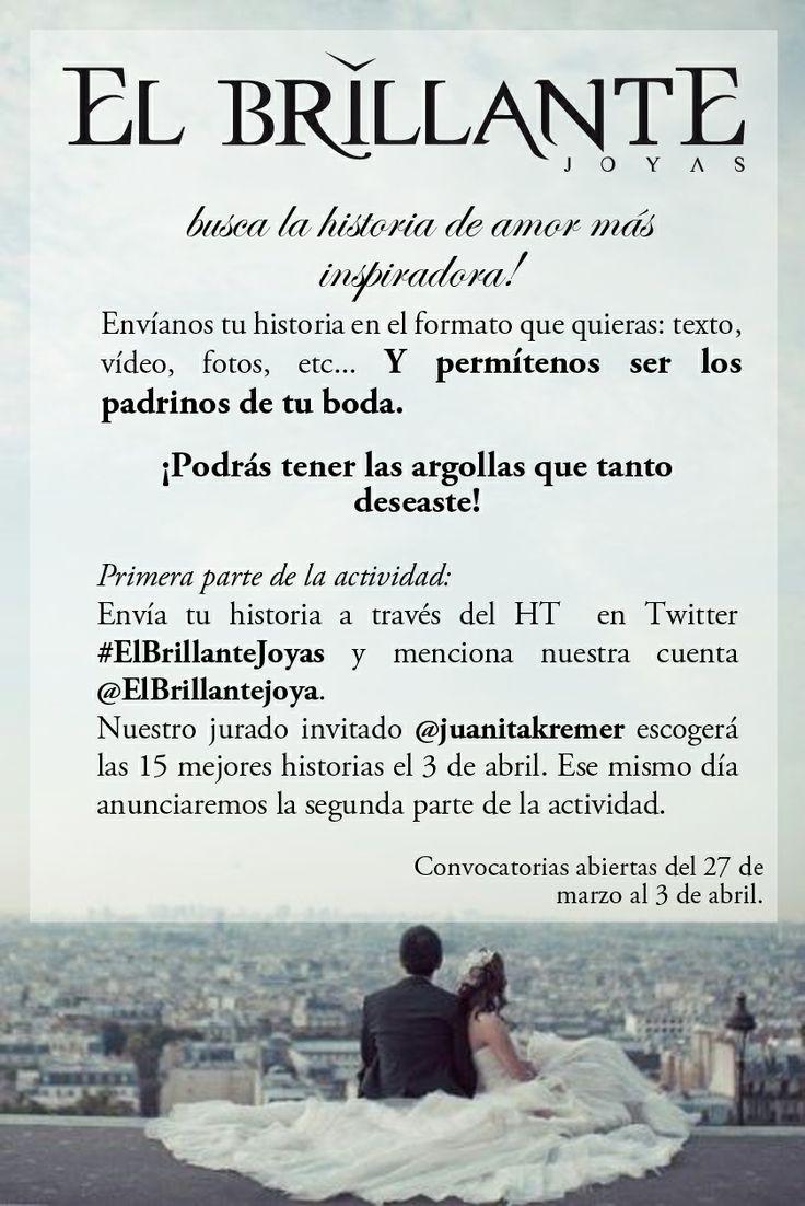 #ElBrillanteJoyas quiere regalarte las argollas de boda!!!!  REGLAS DE LA ACTIVIDAD:  1- Ser seguidor de nuestras redes de Instagram, Facebook y Twitter. 2-Tener una historia real de amor, hecha y contada por tí.  REDES: FACEBOOK: EL BRILLANTE JOYAS TWITTER: @Elbrillantejoya INSTAGRAM: @ElBrillanteJoyas   Anillos de compromiso y argollas de matrimonio. #ElBrillanteJoyas  http://www.elbrillantejoyeria.com.co/