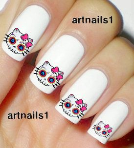 Hello Kitty Day of the Dead Skull Sugar Skeleton by artnails1