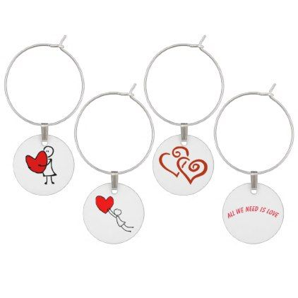 Heart and Hugs Wine Charm - red gifts color style cyo diy personalize unique