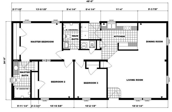 24 x 48 floor plans 24 x 48 approx 1152 sq ft 3 bedrooms for 24 x 48 modular home