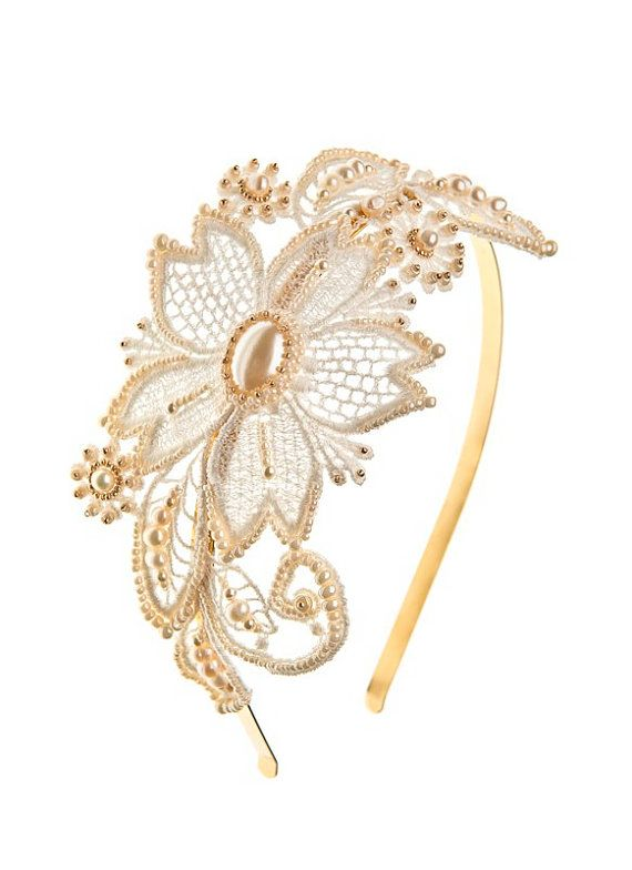 Aglaia lace and pearls bridal headpiece, so beautiful! https://www.etsy.com/listing/123271658/aglaia-lace-and-pearls-bridal-headpiece?ref=shop_home_active