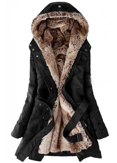 Winter is coming. If you're not a GOT fan. A warm behind is for sure in this garment ==  Woman Plus Size Zipper Closure Black Hooded Coats