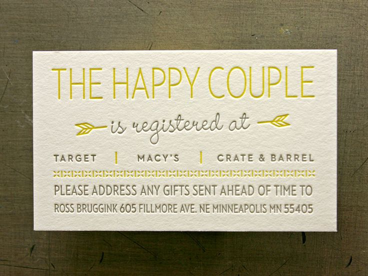 Love Business Card Keep In Your Wallet Includes Address But Gift Wedding Registry