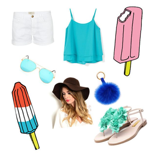 """""""Hot day 🔥☀️"""" by ariba95 ❤ liked on Polyvore featuring Tattly, Current/Elliott, MANGO and Rupert Sanderson"""