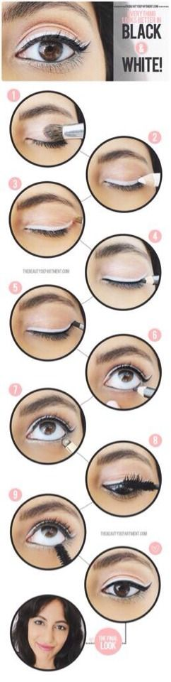 Make your eyes pop by adding a layer of white eyeliner.