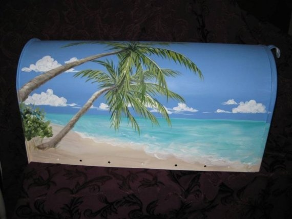 Tropical Beach Scene Hand Painted Mailbox by DancingBrushes, $99.00