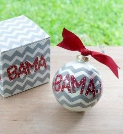 Any stylish fan will love this University of Alabama Chevron Ornament. Personalize it with a name and date for a special spirited keepsake. All collegiate ornaments come boxed and tied with a coordinating ribbon making them the perfect gift for anyone.