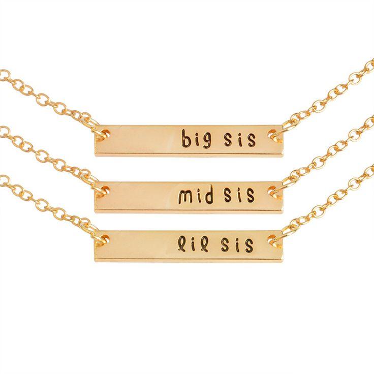3 Pcs Sister Pendant Necklace Set