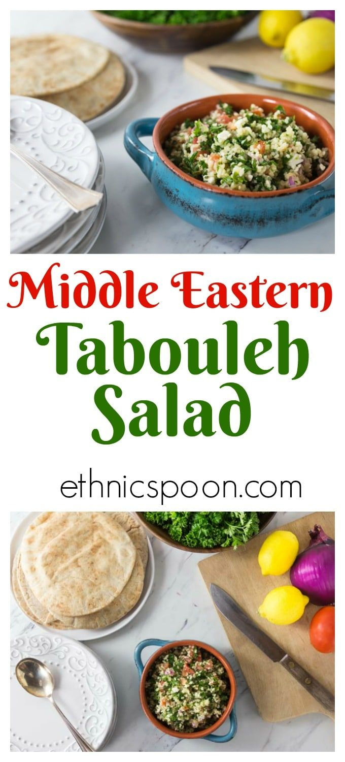 I love recipes with fresh ingredients that are also simple to make. The is a very refreshing and healthy salad you will often find at Middle Eastern restaurants. Here is a really simple recipe for an authentic tabouleh made with cracked bulgur wheat, parsley, tomato, feta, mint, lemon juice and onion. There is some variation on the spelling of tabbouleh or tabouli, no matter how you spell it you will love this salad with it's fresh flavors! #tabouleh #parsley #salad #middleeasternfood…