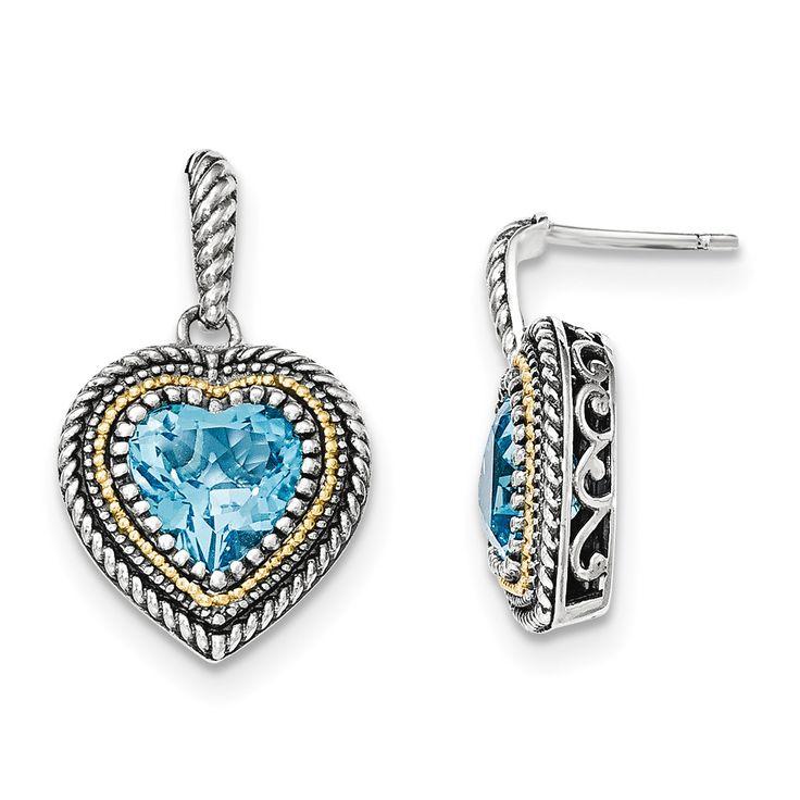 Sterling Silver w/14k Lt Swiss Blue Topaz Heart Dangle Post Earrings
