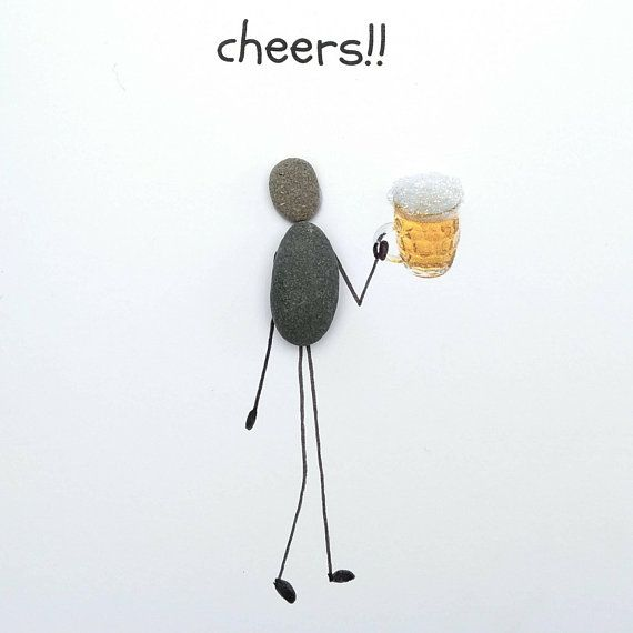Husband Birthday Card Dad Birthday Card Beer Lovers Card Pebble Picture Pebble Card Cute Card Quirky Card Unusual Beer Card Happy Beerday Pebble Art Husband Birthday Card Dad Birthday Card