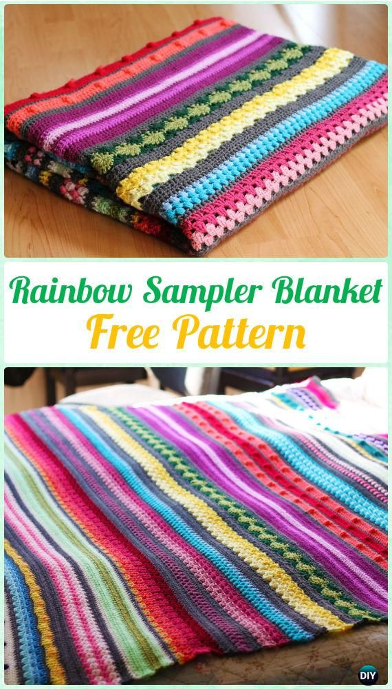 Crochet Rainbow Sampler Blanket Free Pattern - Crochet Rainbow Blanket Free Patterns