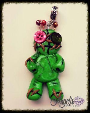 Handmade Polymer Clay Green Voodoo Pendant