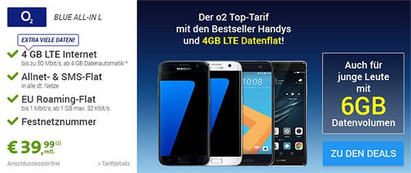 4GB LTE o2 Blue All-in L für 39,99€ mit TOP-Smartphone ab 1 EUR http://www.simdealz.de/o2/o2-blue-all-in-l-mit-top-smartphone/