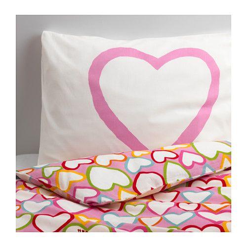 IKEA - VITAMINER HJÄRTA, Housse de couette et taie, , 100% coton, un matériau doux pour la peau de votre bébé et qui s'adoucit encore à chaque lavage.Le tissage serré rend le linge de lit encore plus durable.