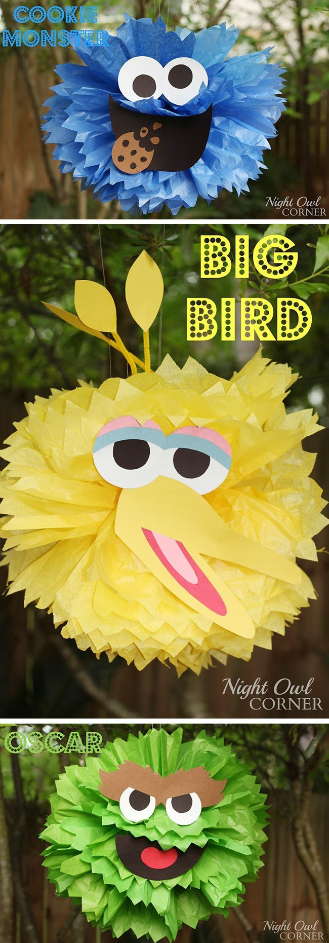 Homemade Sesame Street character poms - so cute!