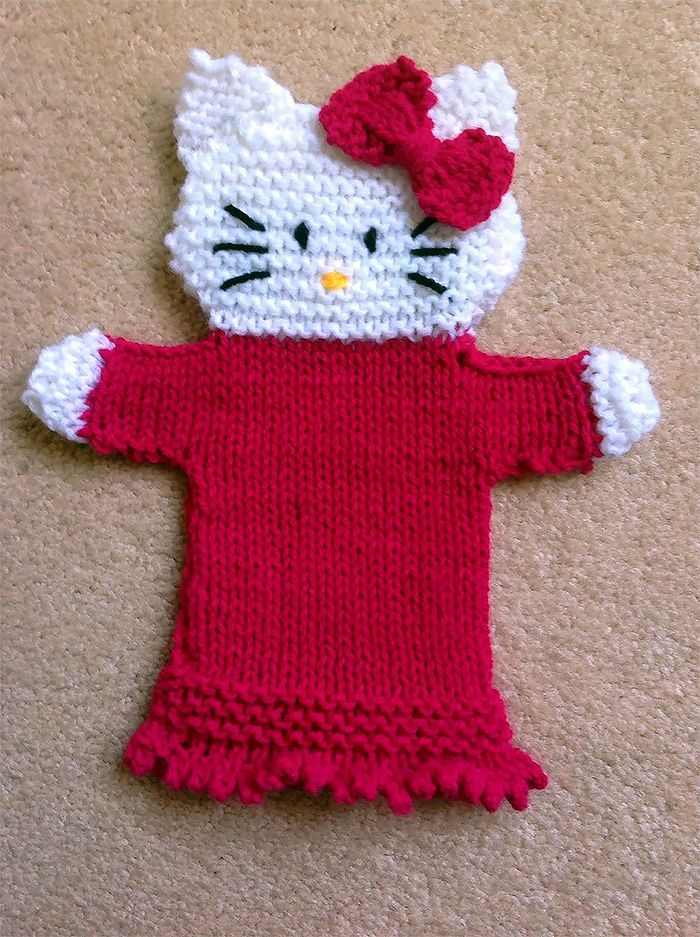 Free Knitting Pattern For Hello Kitty Hand Puppet Cat Hand Puppet