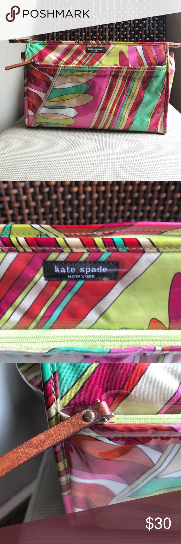 ‼️TODAY ONLY‼️Kate Spade Large Cosmetic Bag Large Cosmetic Bag great for traveling. Plasticized fabric with leather closures. Has one front and one interior pocket. Wipeable and can fit all of your travel essentials. Great bag at a great price! Kate Spade Bags Travel Bags