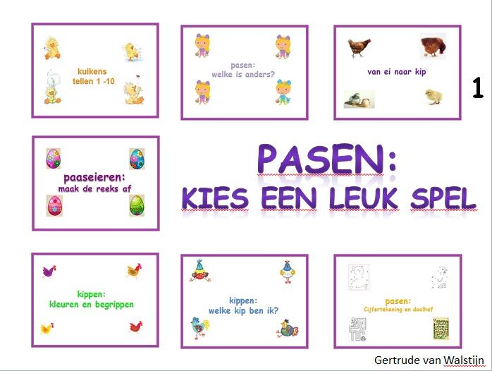 Digibordles: 7 verschillende paasspelletjes voor groep 1 en 2, deze spelletjes kunnen de kinderen zelfstandig spelen op het digibord of de computer. Er is nl. ook een ingesproken versie. De spelletjes zijn op het gebied van taal en rekenen. Tevens zit er een powerpoint in van ei naar kip. http://leermiddel.digischool.nl/po/leermiddel/93b78323dc76e75250ab41897dee0118?s=2.2