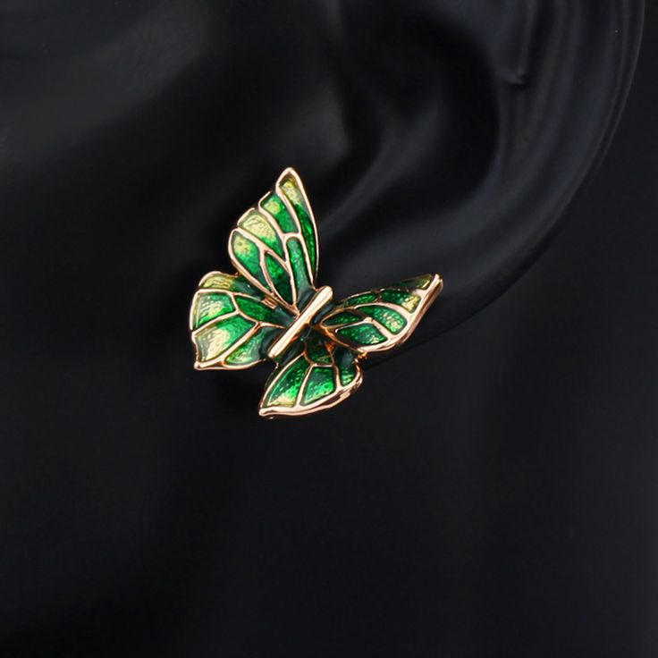 Enamel Butterfly Charm Cute Stud Earring Teen Girl Bridesmaid Gift Fashion Cute Mother Jewelry New ENA1 JS6 But-e Check it out! www.lolfashion.ne... #Jewelry #shop #beauty #Woman's fashion #Products