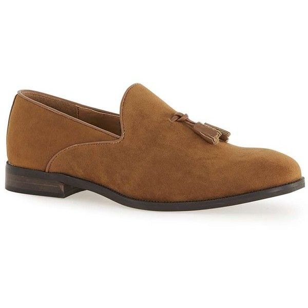 TOPMAN Tan Faux Suede Loafers ($49) ❤ liked on Polyvore featuring men's fashion, men's shoes, men's loafers, brown, topman mens shoes, mens brown shoes, mens tassel loafer shoes, mens brown loafer shoes and mens tassel shoes