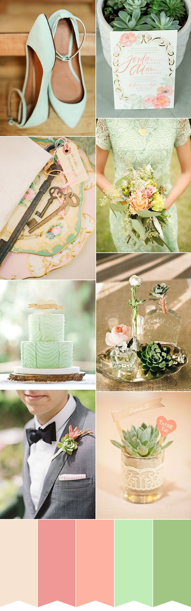 Gorgeous Fresh Mint and Pink Inspiration Colour Palette | www.onefabday.com
