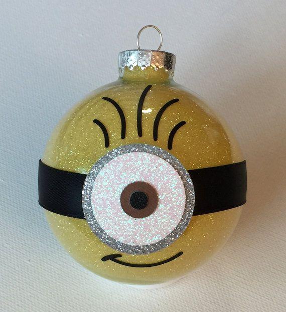 "Minion Christmas Glitter Ornament 3.25"" Glass Ball-1 Eye"