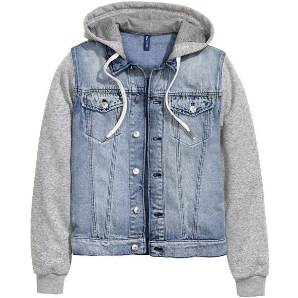 Denim Jacket with Hood $49.99 (2.840 RUB) ❤ liked on Polyvore featuring outerwear, jackets, denim jackets, blue jean jacket, hooded jacket, flap jacket, hooded jean jacket and button jacket